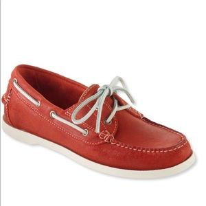 L.L. Bean Women's Leather Boat Shoes Red Size 6.5